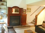 The living room with gas fireplace