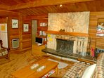 Living room with wood fire place