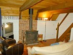 The living room with a wood burning stove