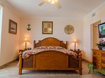 The First Mate's master suite has an elegant king bed with luxury linens and a memory foam mattress topper.  The flat...
