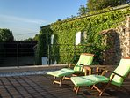 High above ground level with uninterrupted views across the Rhone Valley into the French Ailps