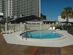 The west pool at Sunbird is heated in the cooler months.