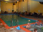 The indoor swimming pool and hot tub are very popular for hanging out with your family and friends.