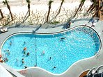 The pool is heated in the cooler months, too!