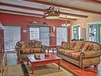 Relax on the comfy couches in the living area.