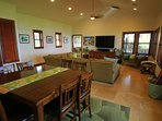Dining overlooking living area