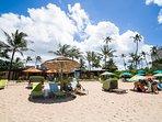 Sunbathe in white sands of Turtle Bay