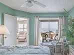 Oceanfront master bedroom with queen size bed, flat screen TV, access to the oceanfront lanai and private master bath.
