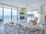 Oceanfront living room with TV, DVD and recliner.