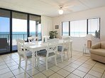 Appreciate meal times with family from this oceanfront dining room.