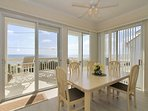 Enjoy meals with family in the oceanfront dining room.