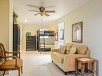 Mother-in-Law Suite, with separate entrance, is located on the main level and features a queen sized bed and a set of...