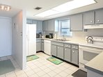 Ocean view, fully equipped kitchen. with additional seating at the kitchen counter for 2.