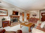 Main Street Park Station condo with large flatscreen HDTV, wood burring fireplace, spacious & comfortable seating in...