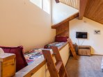 Loft on Third Level; Queen Bed, Two Twin Beds, and two twin fold away beds