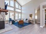 Lving Room, Full Sleeper Sofa Plus Chaise lounge, Arm Chairs, Fireplace, Flat Screen Smart HD TV