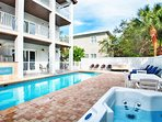 Calypso Features a Large Private Pool and Hot Tub in Back of Home
