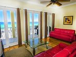 2nd Floor Living Area feat. A Sleeper Sofa and Beautiful Views of The Gulf