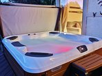 8 person Bullfrog Hot Tub with LED lighting and amazing mountain views