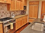 Terrific kitchen with large Wolf gas stove and Sub Zero refrigerator - Park City Tranquility - Park City