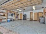 Big two car garage with ski storage