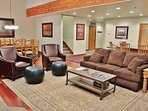 Large Living Area with Flat Screen TV, Pullout Queen Sleeper and Wood Burning Fireplace