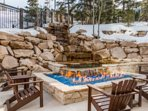 Back yard fire pit and seating area and hot tub