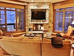 Living room with 50' HD TV/DVD/Surround, fireplace, and lots of cozy seating