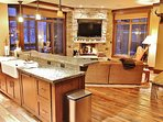Kitchen, living room and dining area