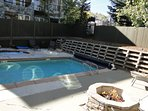 Communal Heated Pool, Large Hot Tub, and Gas Fire Pit at Snowblaze