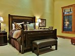 Grand Master Bedroom with King size bed, fireplace, and TV in Lookout 22 - Deer Valley