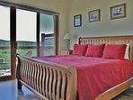 Master Bedroom with King Bed, TV, Private  Bath and Deck with Patio Seating and Great Views