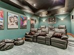 Theater Room with 114' Screen, Blu Ray, DVD and Theater Seating