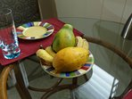 Enjoy locally grown fruits.  Our favorites are papaya and apple bananas.