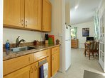 Kitchen with full size Fridge, Microwave, Toaster Oven, Convection Hot Plate, Coffee Maker, etc.