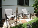 One private patio to relax right by the entrance.  Just right for the BBQ cook and company.