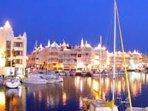 A beautiful view of the Marina at night