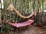 Relax in the fabric hammock