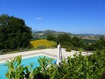 Villa Miramonti swimming pool with panoramic views over hills, woods and mountains.