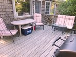 Small deck off kitchen with table and 4 chairs - 200 Indian Hill Road Chatham Cape Cod New England Vacation Rentals