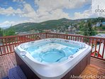 Hot tub with great views off the deck over Old Town