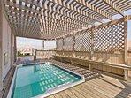 Shaded pool area.