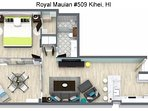 Royal Mauian #509 Floor Plan.