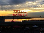 Pike Place Market, the Puget Sound and beautiful sunset!  November 2016.
