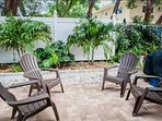 Private patio with outdoor furniture