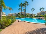 Pool for apartments with varying depths, beautifully maintained, mature gardens
