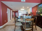 tile throughout living room,  dining room, kitchen and entry hall