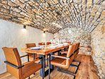 Dining area under vaulted roof