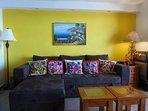 Spacious Living area with comy sofa that sleeps 2