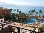 View from main balcony to downtown Puerto Vallarta and bay.